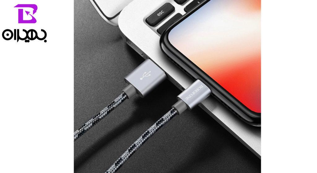 کابل تبدیل USB به لایتنینگ بروفون مدل BX9 طول 1 متر