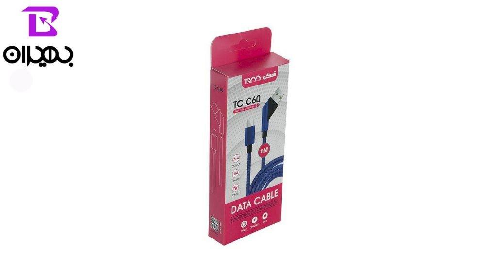 کابل تبدیل USB به Type-C تسکو مدل TC-C60 طول ۱ متر