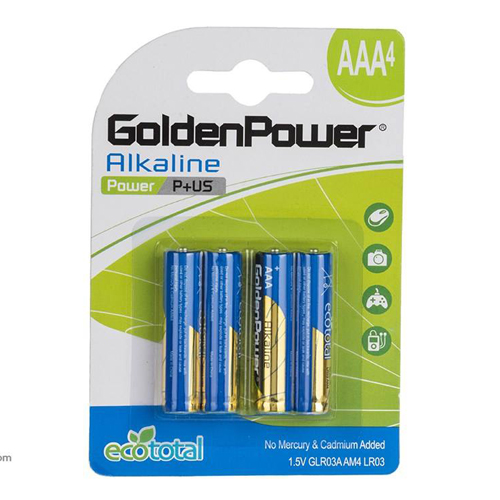 باتری نیم قلمی گلدن پاور آلکالاین مدل 015 بسته 4 عددی