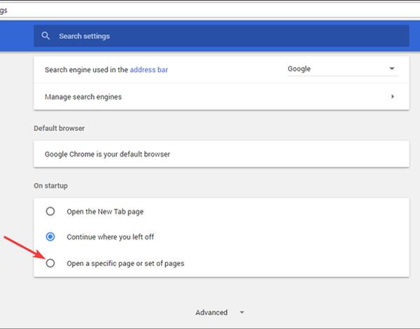 تنظیم هوم پیج در گوگل کروم