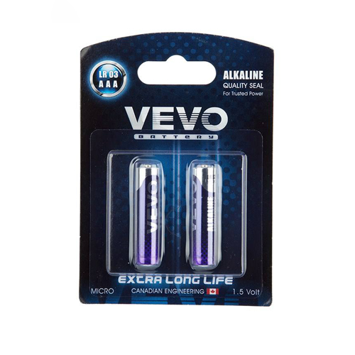 VEVO Alkaline LR03 AAA Battery Pack of 2