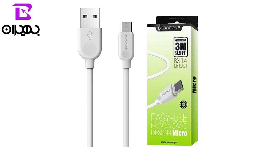 کابل تبدیل USB به MicroUSB بروفون مدل BX14 طول 3 متر