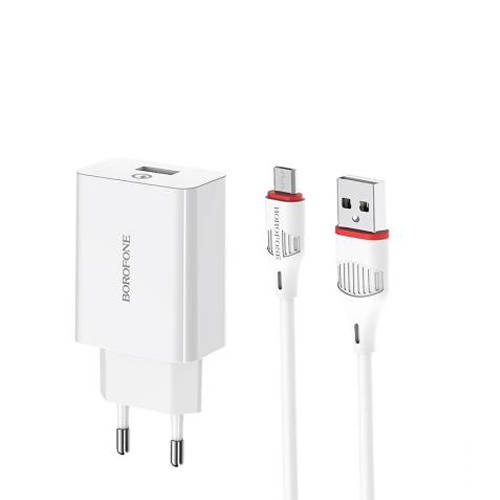 Borofone BA21 A Charger and USB to MicroUSB Cable
