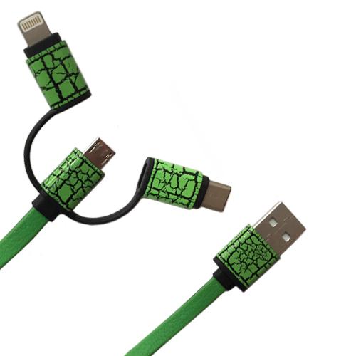 کابل تبدیل USB به MicroUSB،Type-C و لایتنینگ داتیس مدل 398