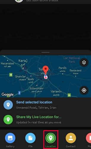 ارسال لوکیشن در تلگرام