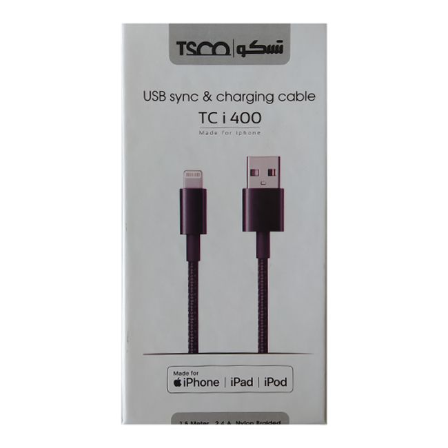 کابل USB به لایتنینگ تسکو مدل TC i400 طول 1.5 متر