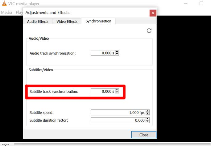 تنظیم زیرنویس VLC Player